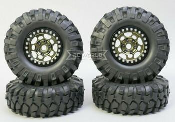 1/10 Metal Truck Wheels 1.9 Beadlock Rims G1 W/ 108mm Tire  BLACK + BLACK