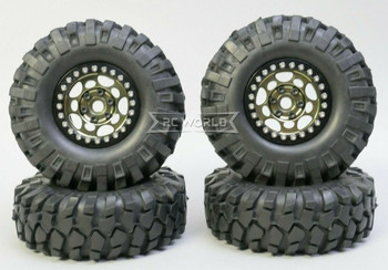 1/10 Metal Truck Wheels 1.9 Beadlock Rims G1 W/ 108mm Tire GUN + BLACK