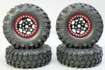 1/10 Metal Truck Wheels 1.9 Beadlock Rims G1 W/ 108mm Tire  BLACK + RED
