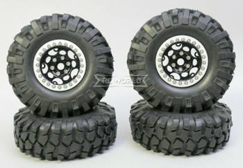 1/10 Metal Truck Wheels 1.9 Beadlock Rims G1 W/ 108mm Tire  BLACK + SILVER