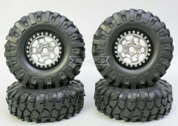 1/10 Metal Truck Wheels 1.9 Beadlock Rims G1 W/ 108mm Tire  SILVER + BLACK