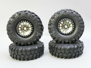 1/10 Metal Truck Wheels 1.9 Beadlock Rims V2  W/ 108mm Tire  GUN + BLACK
