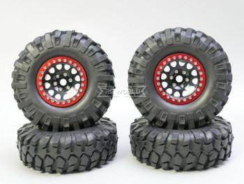 1/10 Metal Truck Wheels 1.9 Beadlock Rims V2  W/ 108mm Tire  BLACK + RED