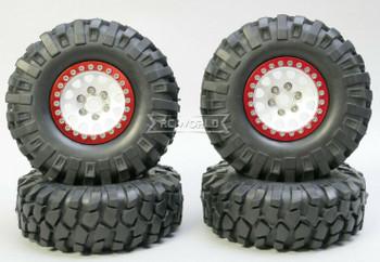 1/10 Metal Truck Wheels 1.9 Beadlock Rims V2  W/ 108mm Tire  SILVER + RED