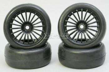 1/10 RC Car SLICKS Racing WHEELS + TIRES Set 3mm offset (4PCS) BLACK 62MM