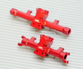 GPM Axial SCX24 METAL AXLES Front + Rear Upgrade Aluminum (2pcs) RED