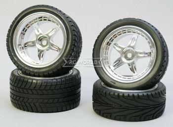 Kawada 1/10 Car Wheels STAGGER 5 STAR Chrome Set WIDE + NARROW w/ TIRES (4PCS)