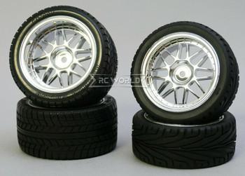 Kawada 1/10 Car Wheels STAGGER MESH Chrome Set WIDE + NARROW w/ TIRES (4PCS)