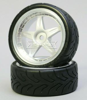 Kawada 1/10 Car Wheels 5 STAR PLATED W/ DRIFT TIRES Set (2PCS) 50mmx26mm #TU45D3