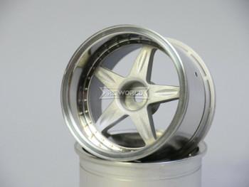 Kawada 1/10 Car Wheels 5 STAR Plated WIDE SET 32mm (2PCS)  #TU36P