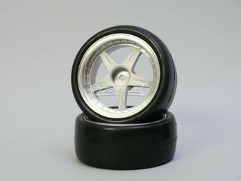 Kawada 1/10 Car Wheels 5 STAR PLATED W/ TIRES Set (4PCS) 50mmx26mm #TU35WP