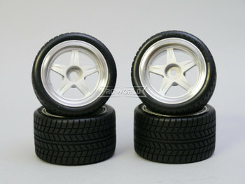 Kawada 1/12 Car Wheels 5 STAR PLATED WIDE W/ TIRES SET (4PCS)