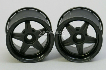 Kawada 1/12 Car Wheels 5 STAR WIDE - BLACK -(2PCS) #TUM37K