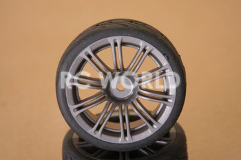 RC 1/10 CAR TIRES WHEELS RIMS SEMI- SLICKS KYOSHO TAMIYA HPI MATTE GUN METAL #1