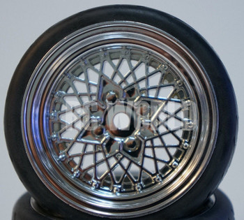 RC Car 1/10 WHEELS Tires SEMI-SLICK 3MM Offset CHROME MESH RIMS