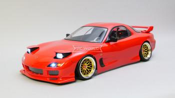 Custom 1/10 Yokomo RC MAZDA RX7 FD DRIFT W/ Pop Up Lights RTR -RED-
