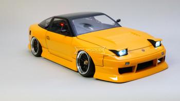 Custom 1/10 Yokomo RC Nissan 180SX DRIFT W/ Pop Up Lights RTR -ORANGE-