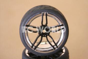 RC 1/10 CAR TIRES WHEELS RIMS SEMI- SLICKS KYOSHO TAMIYA HPI BLACK CHROME LIP #2