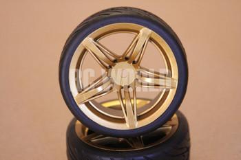 RC 1/10 CAR TIRES WHEELS RIMS PACKAGE KYOSHO TAMIYA HPI GOLD 5 STAR CUT