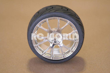 RC 1/10 CAR TIRES WHEELS RIMS PACKAGE SEMI- SLICKS KYOSHO TAMIYA HPI CHROME #1