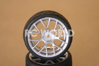 RC 1/10 CAR TIRES WHEELS RIMS SEMI- SLICKS KYOSHO TAMIYA HPI SILVER #4