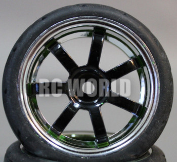 RC 1/10 Street SEMI SLICK WHEELS TIRES Package 3mm BLACK SPOKE CHROME LIP