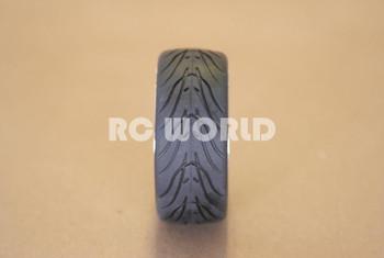 RC 1/10 CAR TIRES WHEELS RIMS SEMI- SLICKS KYOSHO TAMIYA HPI BLACK CHROME LIP #3