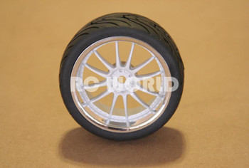 RC 1/10 Car Wheels Tire WHITE w/ CHROME LIP Semi Slick Street Tread