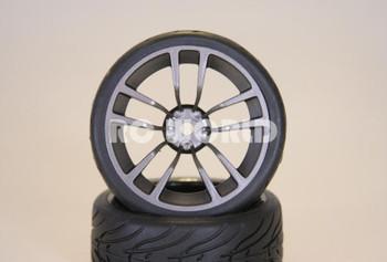 RC 1/10 CAR Wheel Tire Package Gun Metal Street