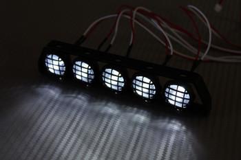 RC Scale Metal Roof Light Bar W/ LED Lights Black
