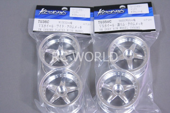 Kawada 1/10 Car Wheels 5 Star STAGGER CHROME SET OF 4