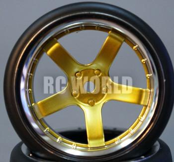 RC Car 1/10 DRIFT WHEELS TIRES Package 6MM Offset GOLD W/ CHROME LIP 5 Star