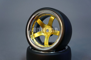 RC Car 1/10 DRIFT WHEELS TIRES Package 6MM Offset GOLD W/ CHROME LIP 5 Star