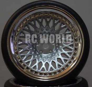 RC Car 1/10 DRIFT WHEELS TIRES Package 9MM Offset SILVER W/ CHROME LIP Mesh