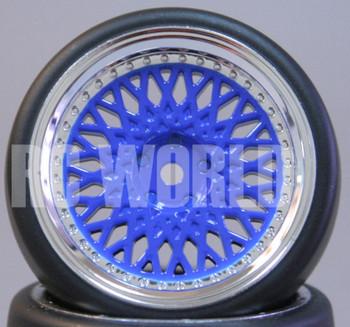 RC Car 1/10 DRIFT WHEELS TIRES Package 3MM Offset BLUE W/ CHROME Lip BBS RIMS
