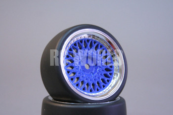 RC Car 1/10 DRIFT WHEELS TIRES Package 3MM Offset BLUE W/ CHROME Lip BBS RIMS