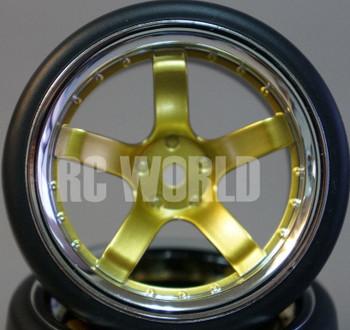 RC Car 1/10 DRIFT WHEELS TIRES Package 9MM Offset GOLD W/ CHROME 5 Star