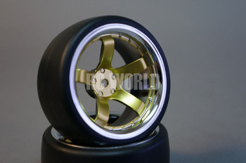 RC Car 1/10 DRIFT WHEELS TIRES Package 9MM Offset GOLD W/ CHROME 5 Star