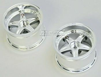Kawada 1/10 Car Wheels 5 STAR Chrome WIDE SET 32mm (2PCS) #TU36C