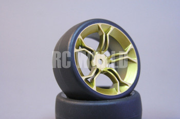 RC Car 1/10 DRIFT WHEELS TIRES Package 3MM Offset ALL GOLD 5 Star Burst