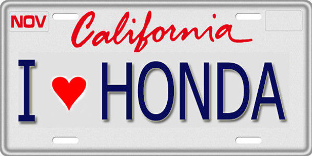 1/10 SCALE LICENSE PLATE FOR RC CAR * I LOVE HONDA *