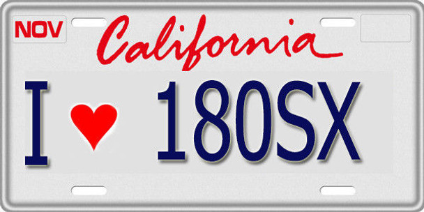 1/10 SCALE LICENSE PLATE FOR RC CAR * I LOVE 180SX * Nissan 180
