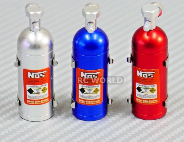 RC 1/10 Scale Accessories METAL NITROUS NOS BOTTLE W/ Holder + Hardware 3 PACK
