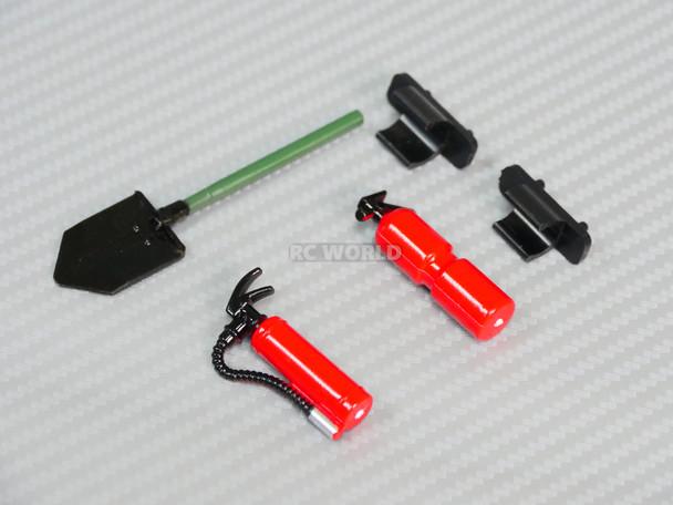 RC 1/10 Scale Mini Fire Extinguishers w/ Holder + Shovel