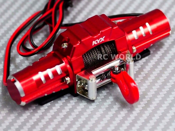 RC Scale Truck 10KG DUAL MOTOR ELECTRIC WINCH W/ SWITCH Metal RED