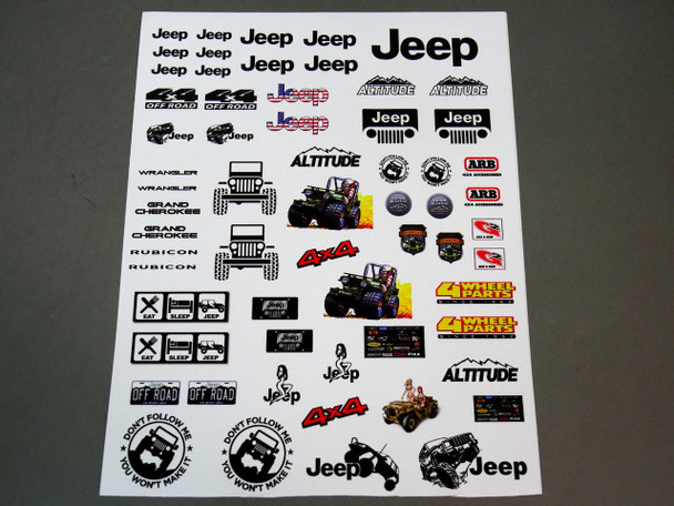 1/10 Jeep Decal Sticker Sheet