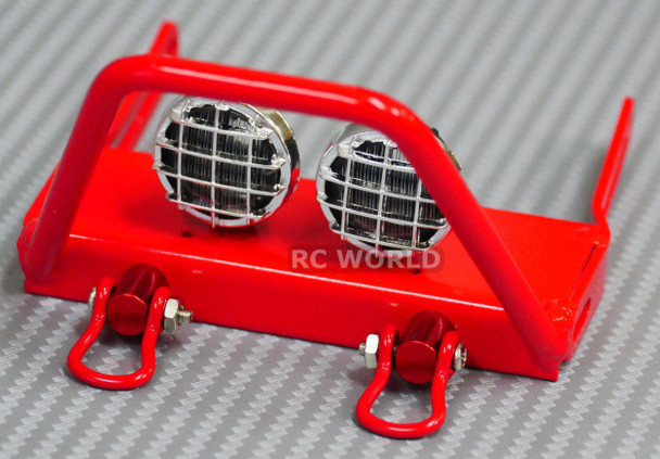 For Axial SCX10 Jeep Wraith METAL FRONT BULL NOSE BUMPER w/ Light Pods LED Red