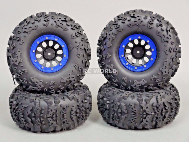 "Axial 2.2 Rock CRAWLER Beadlock Wheels & TIres  140mm 5.5"" -Set Of 4- BLUE"