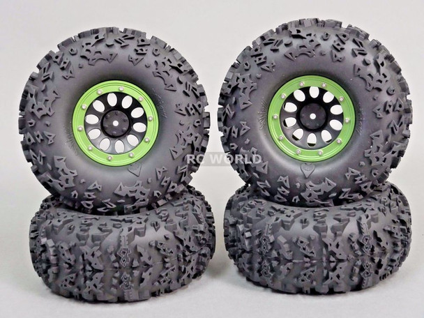 "Axial 2.2 Rock CRAWLER Beadlock  Wheels & TIres 140mm 5.5"" -Set Of 4- GREEN"