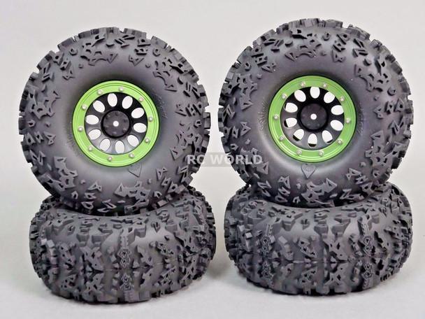 "Traxxas TRX-4 Rock CRAWLER Beadlock  Wheels & TIres 140mm 5.5"" -Set Of 4- GREEN"